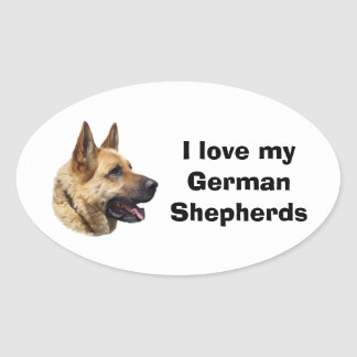 Alsatian German shepherd dog portrait Oval Sticker