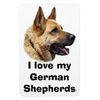 Alsatian German shepherd dog portrait Rectangular Magnets