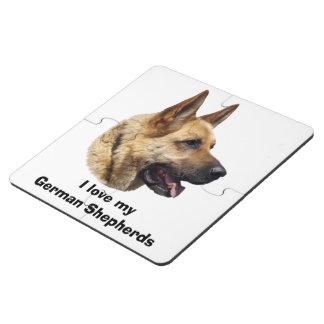 Alsatian German shepherd dog portrait Puzzle Coaster