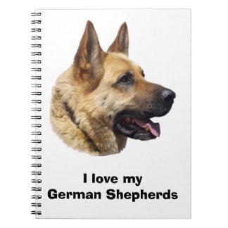 Alsatian German shepherd dog portrait Spiral Notebook