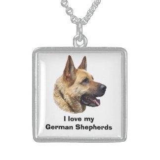 Alsatian German shepherd dog portrait Square Pendant Necklace