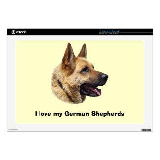 """Alsatian German shepherd portrait 17"""" Laptop Skins"""