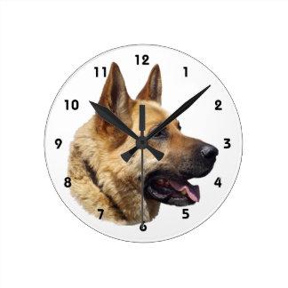 Alsatian German shepherd portrait Round Clock