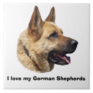 Alsatian German shepherd portrait Large Square Tile