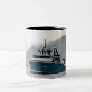 Alsea, Fishing Trawler in Dutch Harbor, Alaska Two-Tone Coffee Mug