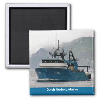 Alsea, pescando el barco rastreador en puerto hola iman de nevera
