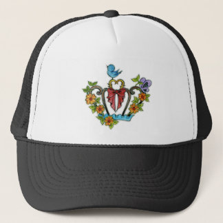 Also the flower and the crown small bird and the trucker hat