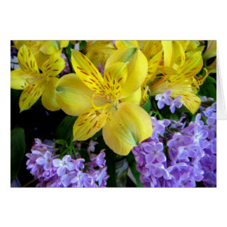Alstremeria and  Lilacs Card Greeting Card