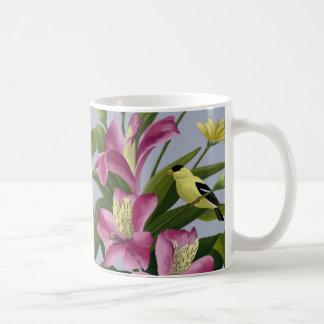 Alstroemeria and American Goldfinch Coffee Mug