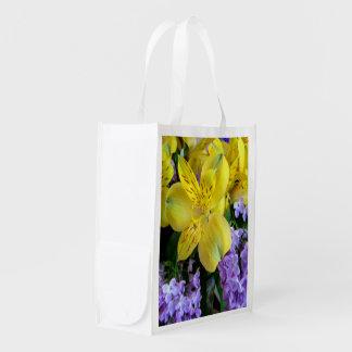 Alstroemeria and Lilac Flowers Reusable Bag