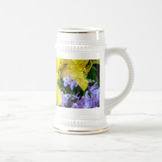 Alstroemeria and  Lilacs Flowers Beer Stein