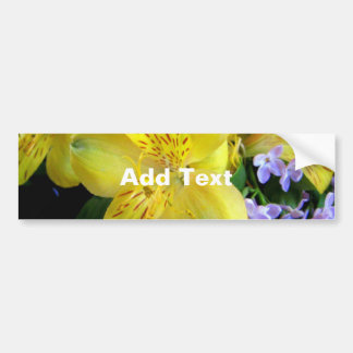 Alstroemeria and  Lilacs Flowers Car Bumper Sticker