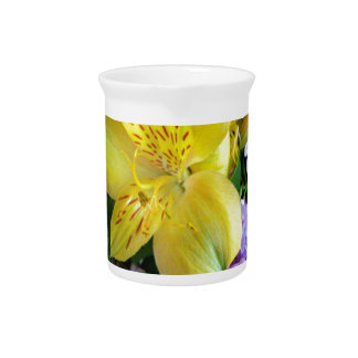 Alstroemeria and  Lilacs Flowers Drink Pitchers
