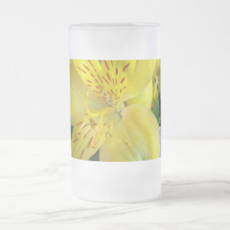 Alstroemeria and  Lilacs Flowers Frosted Glass Beer Mug