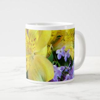 Alstroemeria and  Lilacs Flowers Giant Coffee Mug