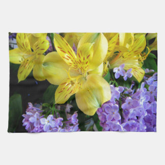 Alstroemeria and  Lilacs Flowers Hand Towel