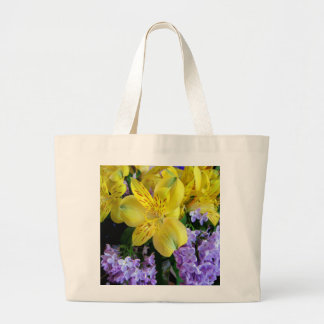 Alstroemeria and  Lilacs Flowers Large Tote Bag