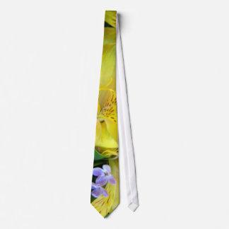 Alstroemeria and  Lilacs Flowers Neck Tie