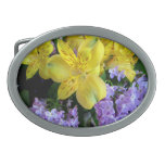 Alstroemeria and  Lilacs Flowers Oval Belt Buckle