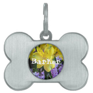 Alstroemeria and  Lilacs Flowers Pet Name Tag