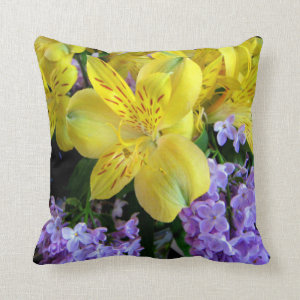 Alstroemeria and Lilacs Flowers Pillows