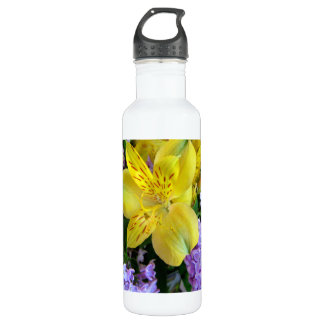 Alstroemeria and  Lilacs Flowers Stainless Steel Water Bottle