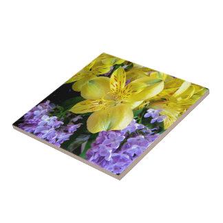 Alstroemeria and  Lilacs Flowers Tile