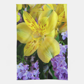 Alstroemeria and  Lilacs Flowers Towel