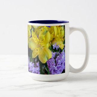Alstroemeria and  Lilacs Flowers Two-Tone Coffee Mug