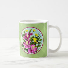 Alstroemeria Floral and Yellow Goldfinch Mugs