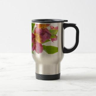 alstroemeria flowers travel mug
