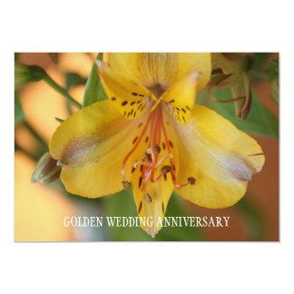 Alstroemeria  GOLDEN WEDDING ANNIVERSARY Card 13 Cm X 18 Cm Invitation Card