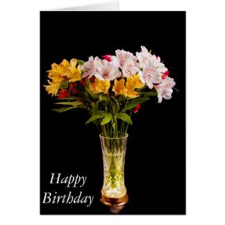 Alstroemeria (Peruvian Lily) Birthday Card Greeting Cards