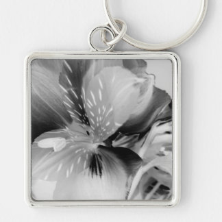 Alstroemeria Peruvian Lily Flower in Black & White Key Chain