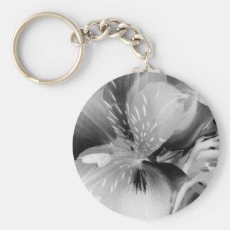 Alstroemeria Peruvian Lily Flower in Black & White Keychain