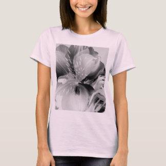 Alstroemeria Peruvian Lily Flower in Black & White T-Shirt