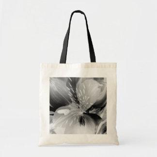 Alstroemeria Peruvian Lily Flower in Black & White Tote Bag