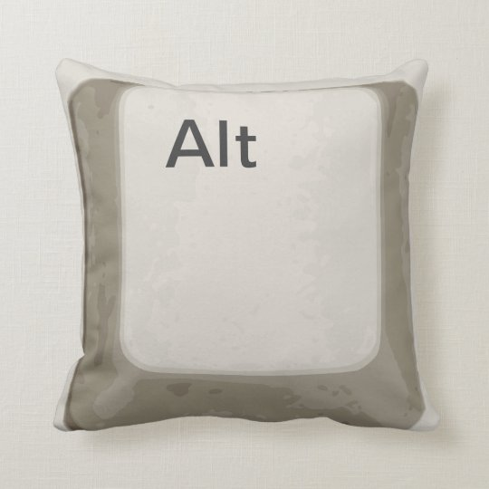 Alt Button / Key - White / Grey Throw Pillow
