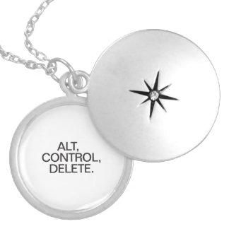 alt control delete round locket necklace