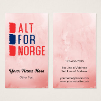 Alt For Norge Norwegian Motto Business Cards