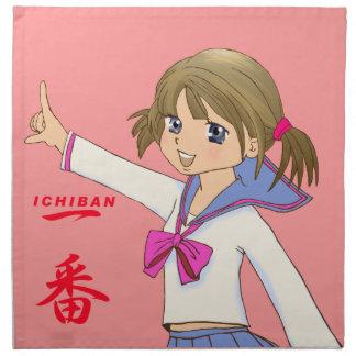 Alta ichi-prohibición japonesa de la colegiala de  servilletas imprimidas