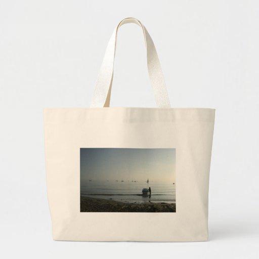 Alta marea, amanecer temprano bolsa tela grande