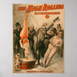 Alta mujer de RollersDunking en poster de la cerve