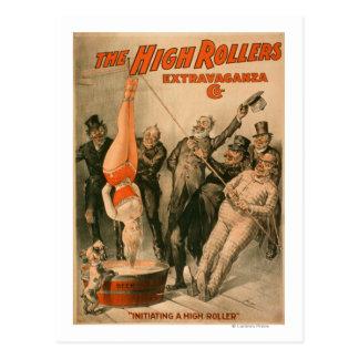 Alta mujer de RollersDunking en poster de la Postal