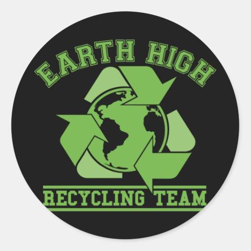 Alta oscuridad de reciclaje de la tierra pegatina redonda