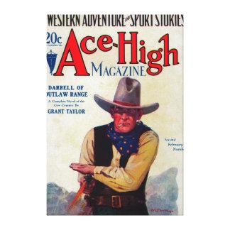 Alta portada de revista del as lienzo envuelto para galerías