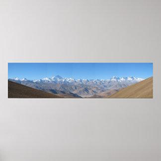 Alta resolución enorme del panorama del monte Ever Póster