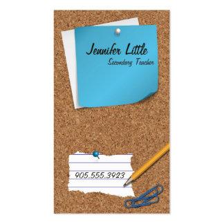 Alta tarjeta de visita del profesor de escuela -