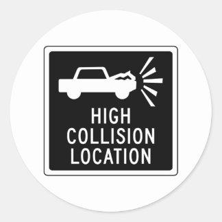 Alta ubicación de la colisión, señal de tráfico, pegatina redonda
