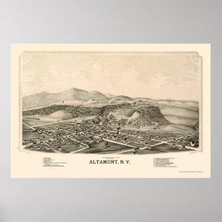 Altamont, mapa panorámico de NY - 1889 Póster